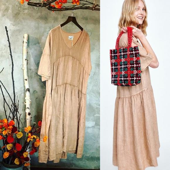 0a49a7d692 Zara Oversized 100% Linen Dress peach blush loose
